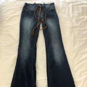 Forever21 Flare Jeans with Front Lace Up